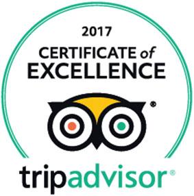 トリップアドバイザー 2017年 エクセレンス認証 certificate of